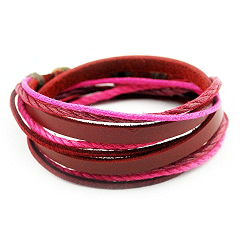 Victoria Echo Handmade Multilayer Wraps Colorful Cords Leather Bracelet Pink