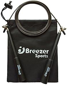 Springseil - Speed Rope von Breezer-Sports - PREMIUM-Springseil mit 3D Kugellager aus Edelstahl - Leichtes High Speed Crossfit Springseil - Rope Skipping - MMA - Double Unders - Seilspringen auf die moderne Art