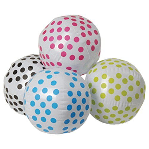 "One Assorted Color Polka Dot Theme Beach Ball - 16"" - 1"
