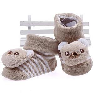 La vogue Zapatos Botas Para Bebé Niños Tejer Longitud 7 a 9cm Forma Oso Marrón en BebeHogar.com