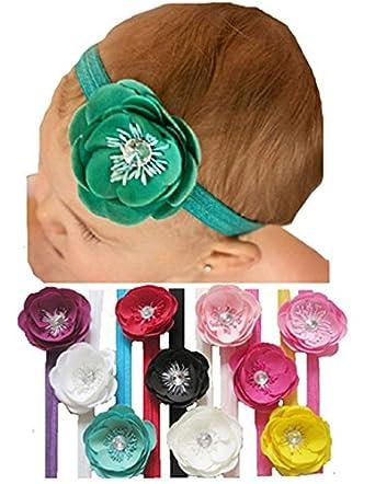 "Qandsweet Baby Girl's Headbands Crystal Flower (10 Colors 3"" Flowers)"