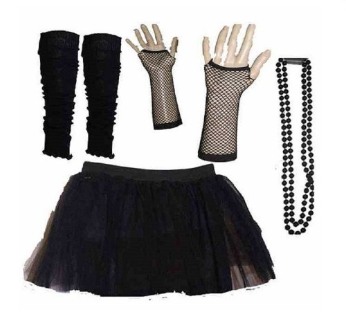 Four Peice Adult Womens 8-14 Black Tutu set Tutu Legwarmers Fishnet Gloves Beads 80s Fancy Dress Costume (RB