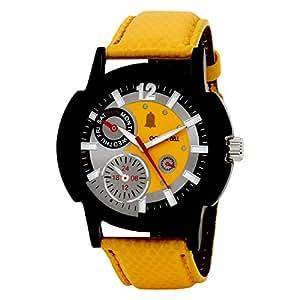 Golden Bell Golden Bell Stylish Yellow Dial Chronograph Look Watch