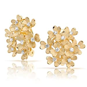 Bling Jewelry Matte Gold Plated CZ Three Leaf Clover Flower Cluster Clip On Earrings