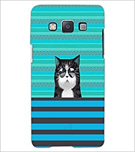 PrintDhaba Cat with Gogs D-2670 Back Case Cover for SAMSUNG GALAXY E5 (Multi-Coloured)