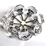 Floureon® 8PCS Diameter 40mm Clear Crystal Glass Cabinet Knob...