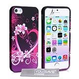 """iPhone 5 / 5S Tasche Silikon Blumen Herz H�lle - Rosa / Schwarzvon """"Yousave Accessories�"""""""