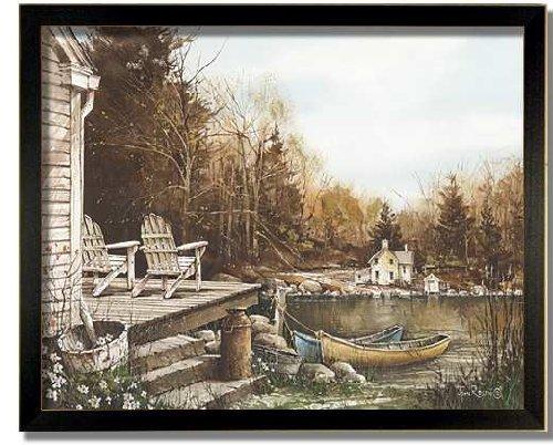 Americana Lake Adirondack House Chair Framed Art Print