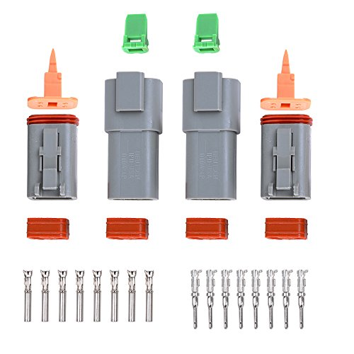 Yiding 2X Vehicle 4 Pin Way Waterproof Electrical Wire Plug Dt04-4P + Dt06-4S