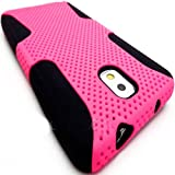 myLife (TM) Black + Flamingo Pink Flexi Grip (2 Piece Mesh Armorsuit) Tough Jacket Case for the Samsung Galaxy Note 3 (4G) Smartphone (Fits Models: N9000, N9002 and N9005) (External Mesh Fitted Hardshell Protector + Internal Solft Silicone Flexible Easy Grip Bumper Gel + Lifetime Warranty + Sealed Inside myLife Authorized Packaging Only)