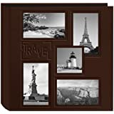 Pioneer Collage Frame Embossed Travel Sewn Leatherette Cover Photo Album, Brown