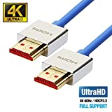 UPTab HDMI 2.0a Slim Cable 6 FT - UHD 4K@60Hz with HDR - Ultra High Speed 18Gbps - Gold Plated Connectors - Ethernet & Audio Return - Video 4K@60Hz 1080p 3D - Xbox PlayStation PC Apple TV
