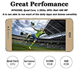 JUNING Unlocked GSM Cell Phones 5 Inch Anroid 5.1 Dual SIM Quad Core ROM 4GB 5.0MP Cameras, Gold
