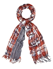 Indigo Collection Lightweight Checked & Floral Scarf