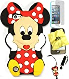 Bukit Cell ® 3D Disney Case Bundle - 5 items: RED 3D Cute Minnie Mouse Soft Silicone Case Cover for iPod Touch 5 5G 5th Generation + BUKIT CELL Trademark Lint Cleaning Cloth + Minnie Figure Anti Dust Plug Stylus Touch Pen + Screen Protector + METALLIC Stylus Touch Pen with Anti Dust Plug