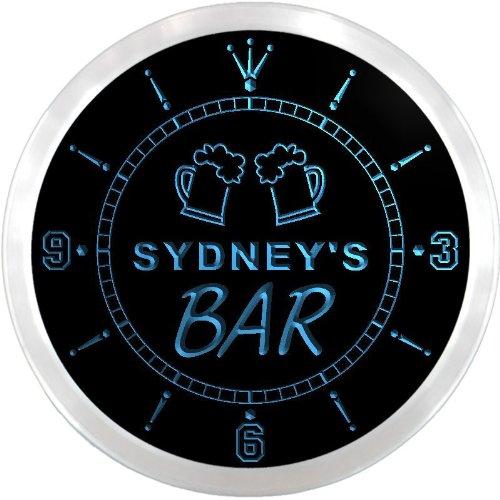 Ncpv0843-B Sydney'S Home Bar Beer Mugs Pub Led Neon Sign Wall Clock