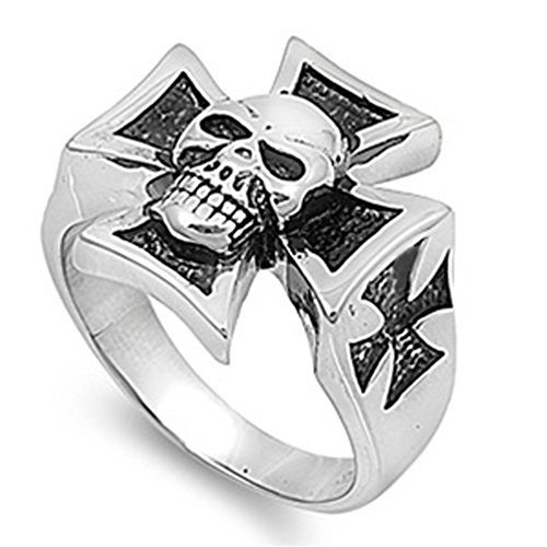 Stainless Steel Skull W/ Iron Cross Biker Ring High Quality Surgical 316L New Size 8 front-425900