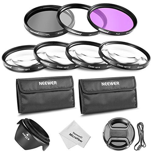 Neewer 49Mm Filtro Professionale E Kit Accessori Closeup Per Canon Eos 400D/Xti; 450D/Xsi; 1000D/Xs; 500D/T1I; 550D/T2I; 600D/T3I; 650D/T4I; 700D/T5I; 100D; 1100D; Nikon Sony Samsung Fujifilm Pentax E Altri Obiettivi Con Filettatura Di Diametro 49Mm Inclusi Kit Filtro (Uv, Cpl, Fld) + Kit Macro Closeup (+1, +2, +4, +10) + Borsetta + Parasole A Forma Tulipano + Coperchio Lente Con Laccio + Stoffa Di Pulizia Di Microfibra