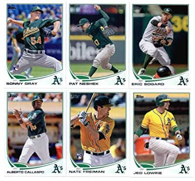 2013 Topps Baseball Cards Update Series- Oakland Athletics Team MLB Trading Set - 11 Cards: US7 Yoenis Cespedes HR US128 Bartolo Colon AS US130 Jesse Chavez US139 John Jaso US202 Yoenis Cespedes Record US241 Alberto Callaspo US264 Nate Freiman RC US266 Je