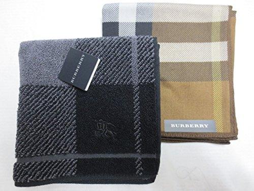 [バーバリー]BURBERRY  紳士 ハンカチ と タオルハンカチ セット ホースマーク刺繍/茶チェック