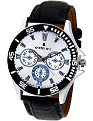 Golden Bell Original Black Dial Black Strap Wrist Watch For Men