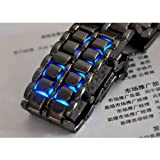 Brand New LED Watch SHARP Lava Style Iron Samurai Metal w/ BLUE Light and BLACK Wrist Band for WOMEN