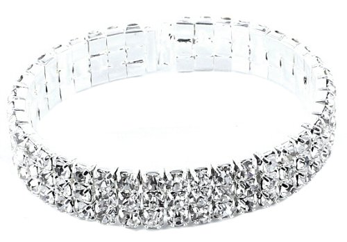 Sparkling Silver White Gold Plated Bridal Three Row Cuff Expandable Adjustable (Fits All) Crystal Prom Bracelet Bangle with PreciousBags Dust Bag