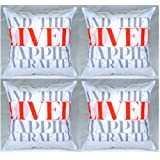 MeSleep Digital Print Saying Loved Happily Ever After 4 Piece Cushion Cover Set - White