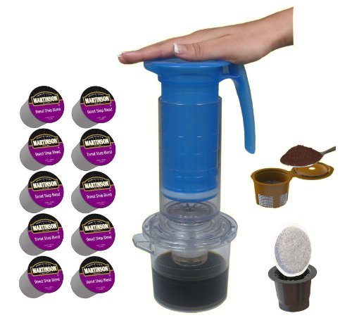 Cafejo My French-Press with K-Cup, Pod and Ground Coffee Adaptors Plus 10 Coffee People Donut Shop Medium Roast K-Cups