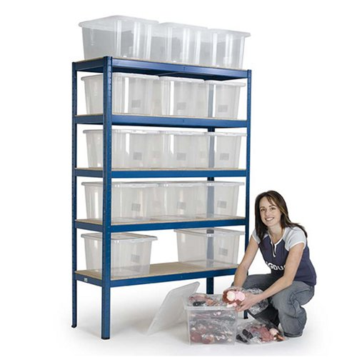 Storage Bay with 15 Plastic boxes with snap fit lids.  Overall size 2060h x 1200w x 450mmd.