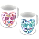 Valentine Gifts for Boyfriend Girlfriend White Love Description Life Care set of 2 Love Printed Best Quality Ceramic Mug Gift for Him Her Wife Husband Fiance Spouse Home Birthday Anniversary