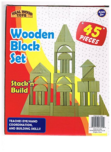 Wooden Block Set (45 Pieces) Real Wood Toys