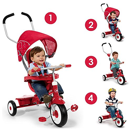 Radio-Flyer-4-in-1-Trike-Red-Childrens-Tricycle-Push-Handle-Unique-Stroller-Style-Canopy-Sturdy-Steel-Frame-Adjustable-Seat