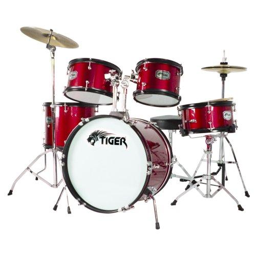 Tiger 5 Piece Junior Drum Kit - Red
