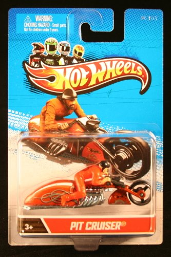 PIT CRUISER (Orange) * MOTORCYCLE & RIDER * Hot Wheels 1:64 Scale 2012 Die-Cast Vehicle