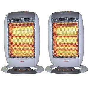2 x Sentik 1200W Portable Electric Halogen Heater, 3 Heat Settings