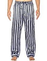 Noble Mount Mens Premium Satin Sleep/Lounge Pants - Grey/Navy