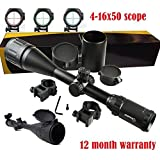 4-16x50mm Scope W front AO adjustment. Red/green Illumination mil-dot reticle. Comes with extended sunshade and Heavy Duty Ring Mount