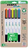 Zebra Eco Zebrite Double-Ended Highlighters, Fine Point and Medium Chisel Tip, 5 Assorted Colors, 5 Pack ( 75005)