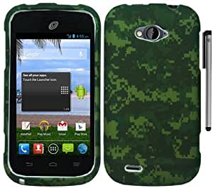 For ZTE Savvy Z750C Green Camo Design Hard Cover Case with Stylus Pen and ApexGears Phone Bag