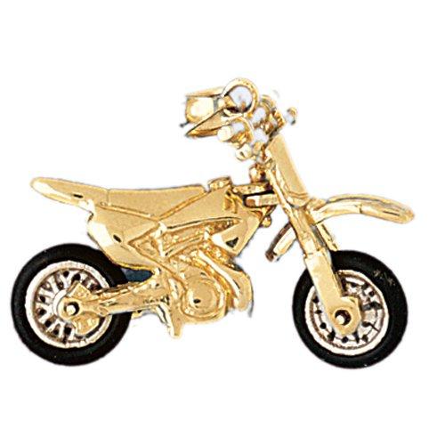 14kt Yellow Gold 3 D Dirt Bike Pendant Jewelry