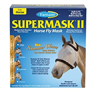 Farnam Supermask II without Ears Eye Care for Horse, Silver/Black