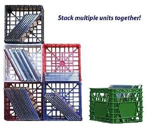 """Mini Milk Crate - Dark Green - Set of 2 (Dark Green) (4.5""""H x 5.5""""W x 5.5""""D)"""
