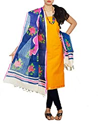 Unnati Silks Women Unstitched yellow-navy blue pure Andhra khadi cotton salwar kamiz dress material