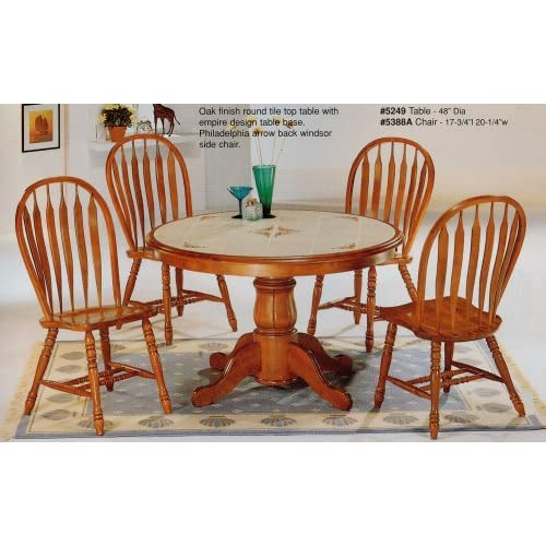 Amazon Com 5 Piece Oak Finish Tile Top Round Table
