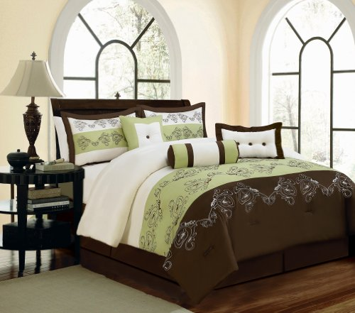 Unique Mk Collection Aleen pc Comforter Set Bed in a Bag Sage Brown Floral Embroidery New