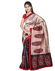 Shonaya Beige & Black Colour Printed Royal Silk Sarees With Unstiched Blouse Piece