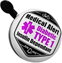 Bicycle Bell Medical Alert Purple Diabetic Insulin Dependant TYPE 1 by NEONBLOND