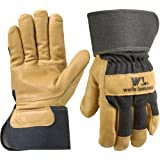 Wells Lamont 3300XL Work Gloves with Grain Patch Palm Pigskin, Black Denim Back, Safety Cuff, Wing Thumb, XL
