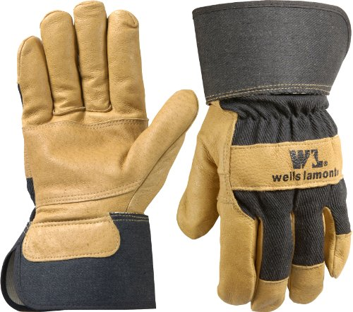 Wells Lamont 3300M Work Gloves with Grain Patch Palm Pigskin, Black Denim Back, Safety Cuff, Wing Thumb, Medium